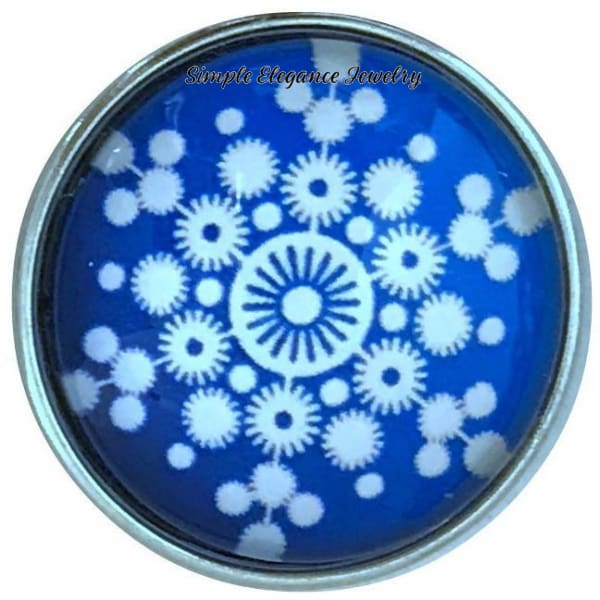 Blue Snowflake Collection Snap Charm 20mm (Choice of 12) - 102 - Snap Jewelry