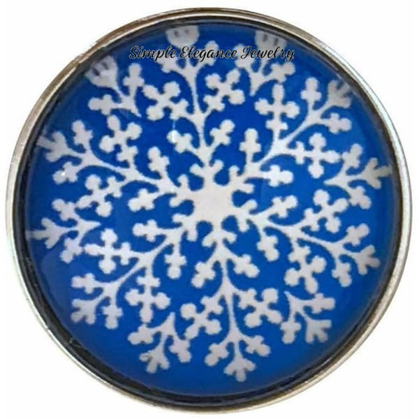 Blue Snowflake Collection Snap Charm 20mm (Choice of 12) - 103 - Snap Jewelry