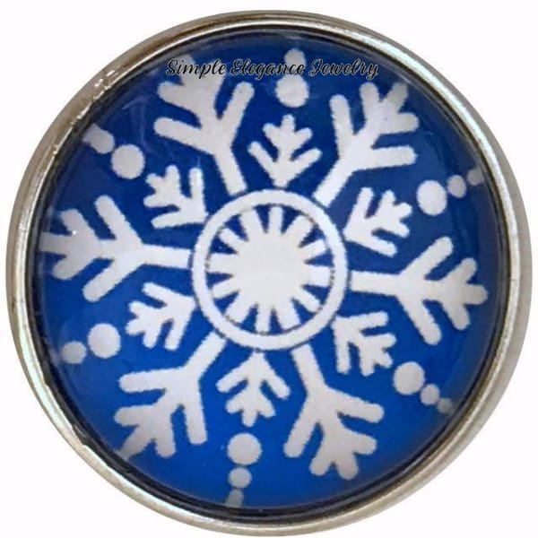 Blue Snowflake Collection Snap Charm 20mm (Choice of 12) - 104 - Snap Jewelry