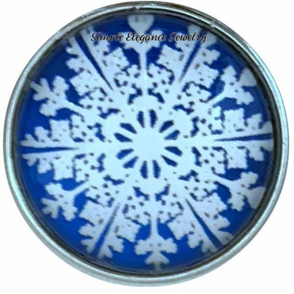 Blue Snowflake Collection Snap Charm 20mm (Choice of 12) - 106 - Snap Jewelry