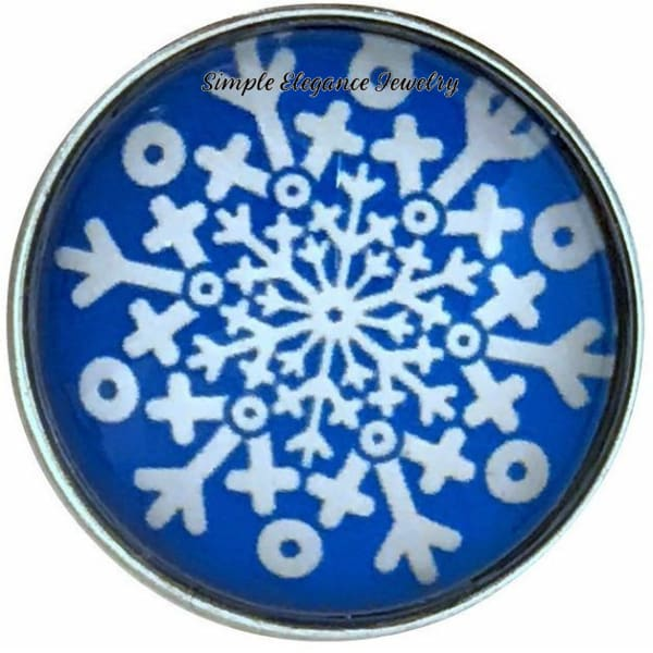 Blue Snowflake Collection Snap Charm 20mm (Choice of 12) - 108 - Snap Jewelry
