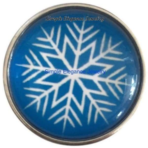Blue Snowflake Snap 20mm for Snap Jewelry - Snap Jewelry