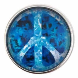 Blue Tie Dye Peace Sign Snap 20mm for Snap Jewelry - Snap Jewelry
