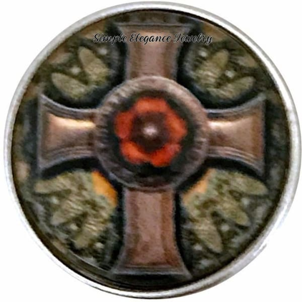 Brown-Green Cross Snap Charm 20mm for Snap Jewelry - Snap Jewelry
