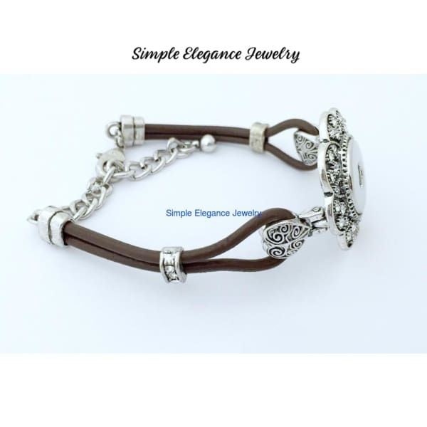 Brown Leather Snap Bracelet with Adjustable Chain Fits Most 20mm Snap - Snap Jewelry