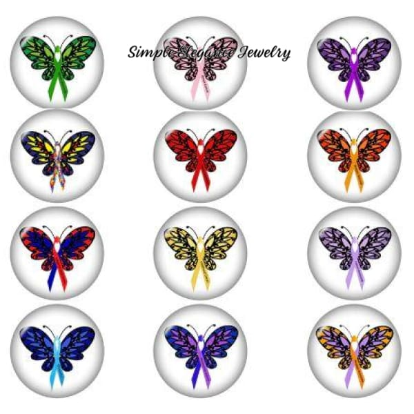 Butterfly Cancer Ribbon Causes Snap Charm 20mm - Green - Snap Jewelry