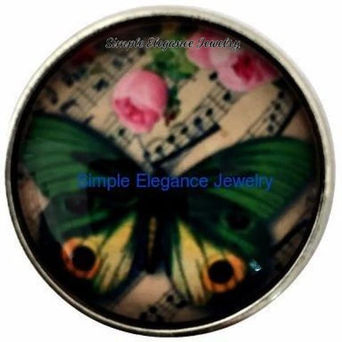 Butterfly Music Snap Charm 20mm for Snap Charms - Snap Jewelry