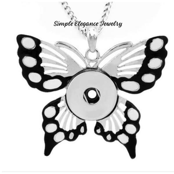 Butterfly Snap Pendant (Free Bead Chain) 20mm - Black - Snap Jewelry