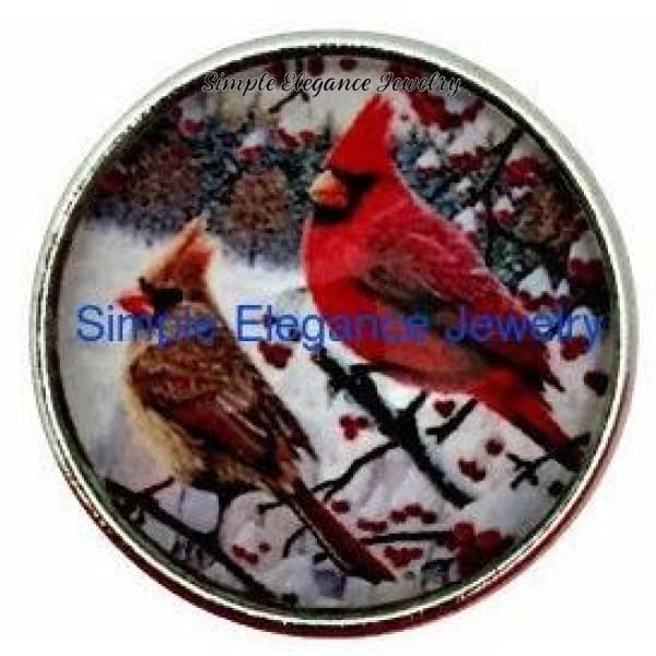 Cardinal Bird Couple Snap 20mm and 12mm MINI Snap for Snap Jewelry - 20mm - Snap Jewelry