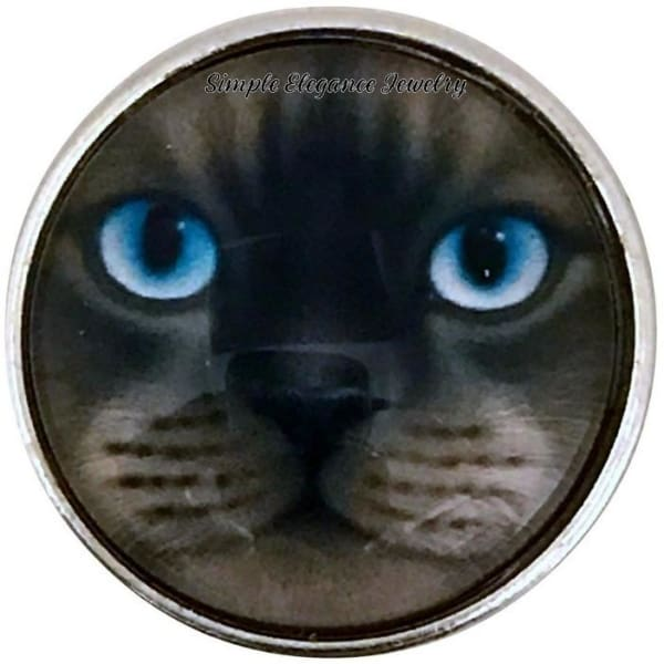 Cat Face-Blue Eyes Snap Charm 20mm for Snap Jewelry - Snap Jewelry