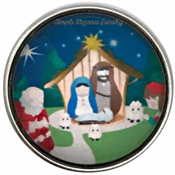 Christmas Nativity Scene With Santa Claus Snap Charm 20mm - Snap Jewelry