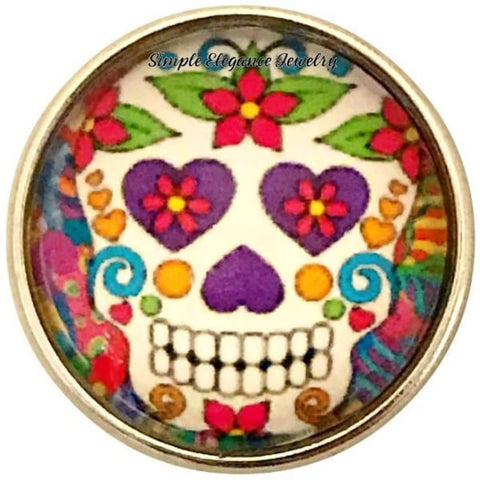 Colorful Sugar Skull Snap 20mm for Snap Jewelry - Snap Jewelry