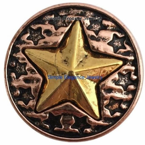 Copper Star Metal Snap 20mm for Snap Charm Jewelry - Snap Jewelry
