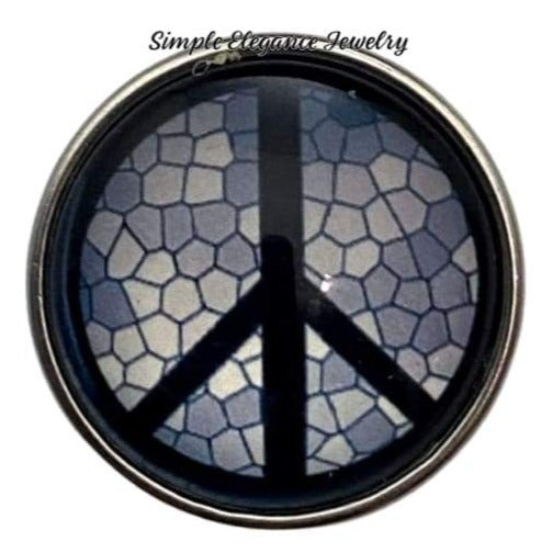 Crackled Peace Sign Snap 20mm - Snap Jewelry