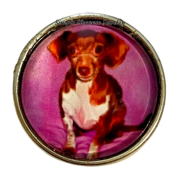 Dachshund Dog Snap Charm 20mm - Snap Jewelry