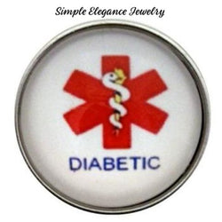 Diabetic Alert Snap Charm 20mm for Snap Jewelry - Snap Jewelry