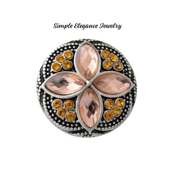 Diamond Pattern Rhinestone 20mm Snap-Snap Charm Jewelry - Amber - Snap Jewelry