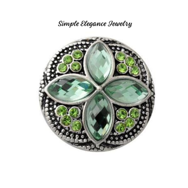 Diamond Pattern Rhinestone 20mm Snap-Snap Charm Jewelry - Peridot - Snap Jewelry