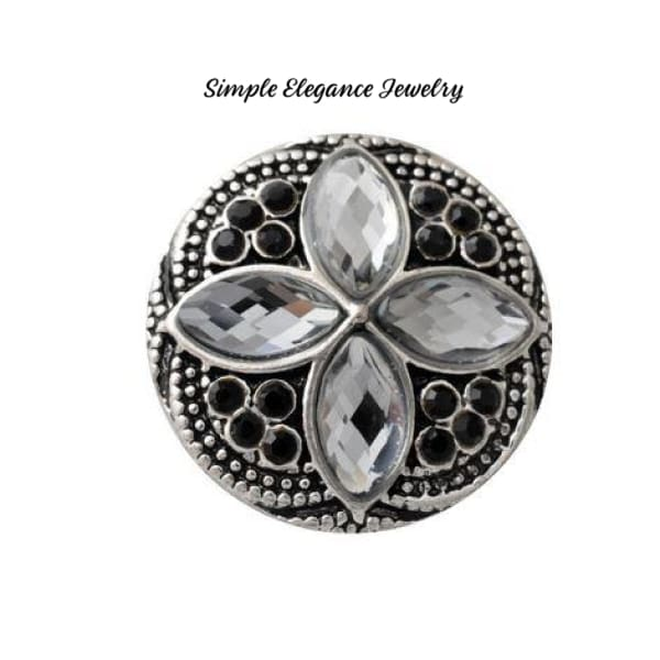 Diamond Pattern Rhinestone 20mm Snap-Snap Charm Jewelry - Smoke Quartz - Snap Jewelry
