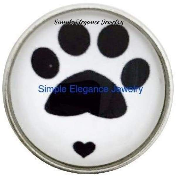 Paw Print with Heart Snap 20mm for Snap Jewelry - Snap Jewelry