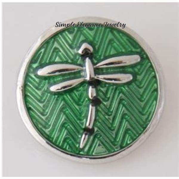 Dragonfly Snap-Metal Enamel- 20mm for Snap Jewelry - Green - Snap Jewelry