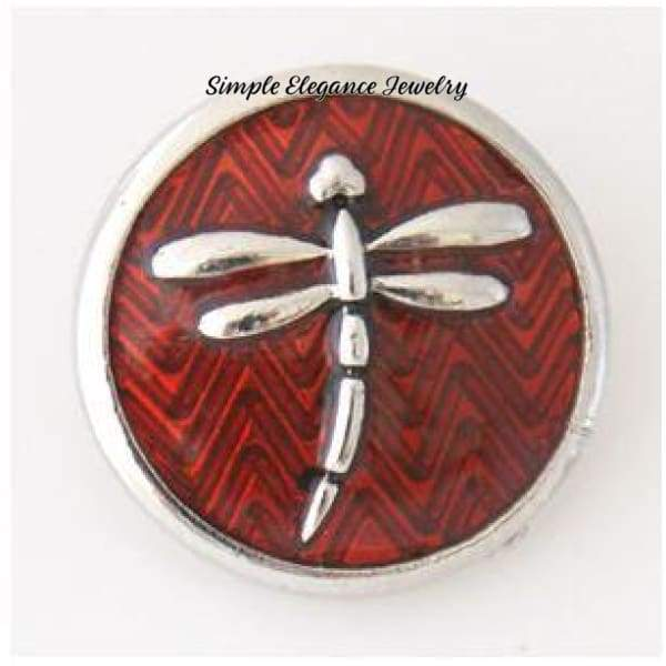 Dragonfly Snap-Metal Enamel- 20mm for Snap Jewelry - Red - Snap Jewelry