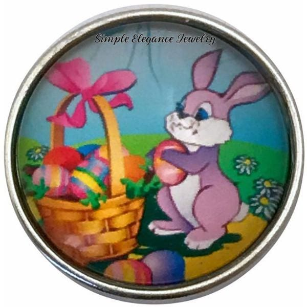 Easter Bunny With Basket Snap Charm 20mm for Snap Jewelry - Snap Jewelry
