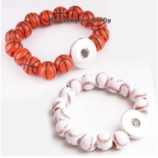 Elastic Sports Ball Snap Bracelet 20mm Snaps - Snap Jewelry