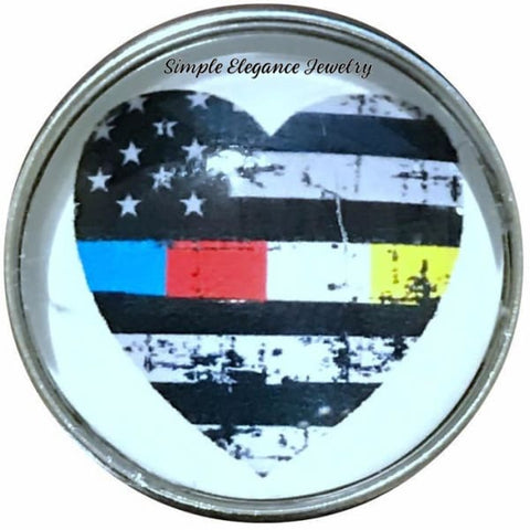 Emergency First Responders Ribbon Snap Charm 20mm - Snap Jewelry