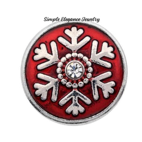 Enamel Rhinestone Snowflake Charm Snap 20mm (Assorted Colors) - Red - Snap Jewelry