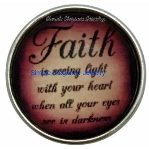 Faith Is Seeing The Light............Snap Charm 20mm - Snap Jewelry