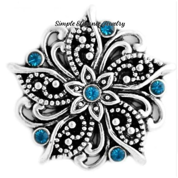 Fancy Flower Rhinestone 20mm Snap-Snap Charm Jewelry - Turquoise - Snap Jewelry