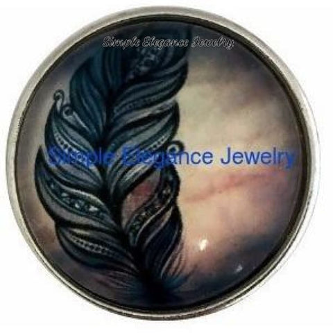 Feather 20mm Snap Button - Snap Jewelry