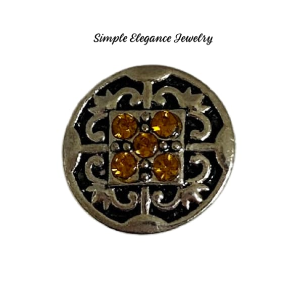 Filigree Colored Rhinestone MINI Snap Charm 12mm - Amber - Snap Jewelry