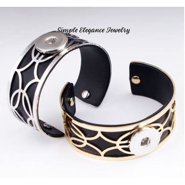 Filigree PU Leather Snap Bracelet 20mm - Snap Jewelry