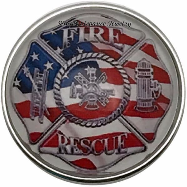 Fire and Rescue Snap Charm 20mm for Snap Charm Jewelry - Snap Jewelry