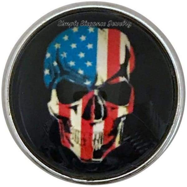 Flag Skull Snap Charm 20mm for Snap Jewelry - Snap Jewelry