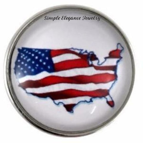 Flag-United States Map Snap 20mm for Snap Jewelry - Snap Jewelry