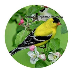 Gold Finch Snap Charm 20mm or 12mm MINI - 20mm Snap - Snap Jewelry