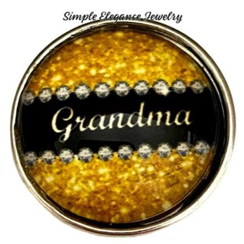 Gold Grandma Sparkle Snap 20mm - Snap Jewelry