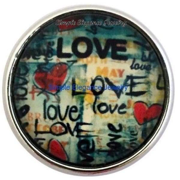 Garafiti Love Snap 20mm for Snap Charm Jewelry (2081) - Snap Jewelry