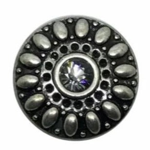 Gray Metal Rhinestone Snap 18mm for Snap Charm Jewelry - Snap Jewelry