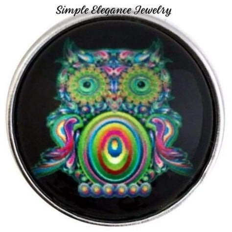 Green Hippie Owl 20mm for Snap Charm Jewelry - Snap Jewelry