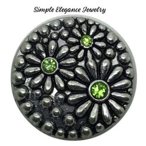 Green Metal Daisy Snap 18mm - Snap Jewelry