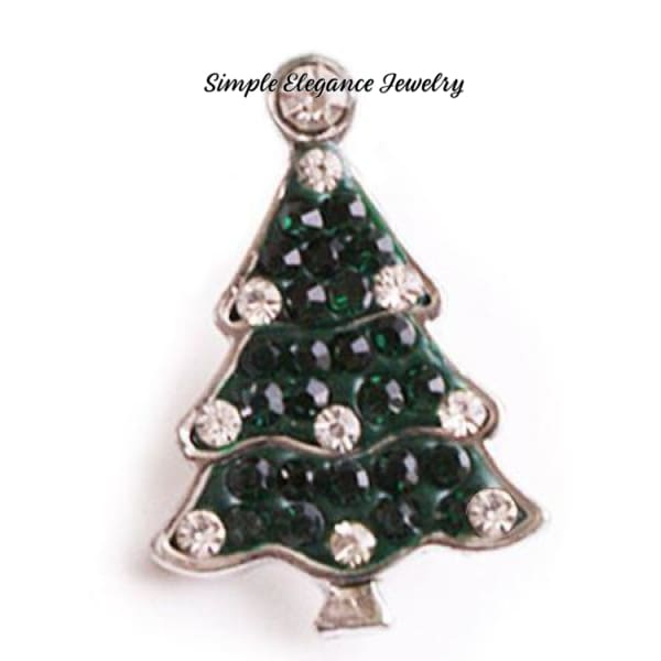Green Rhinestone Christmas Tree Snap 20mm - Snap Jewelry
