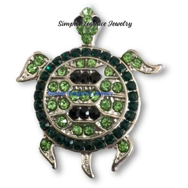 Green Rhinestone Turtle Snap 20mm - Snap Jewelry