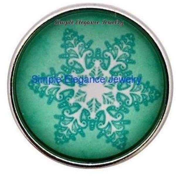 Green Snowflake Snap 20mm for Snap Jewelry - Snap Jewelry