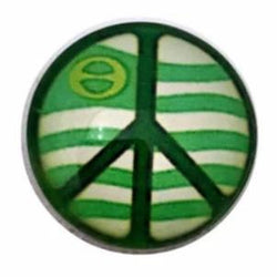 Green Stripe Peace Sign 18mm for Snap Jewelry - Snap Jewelry