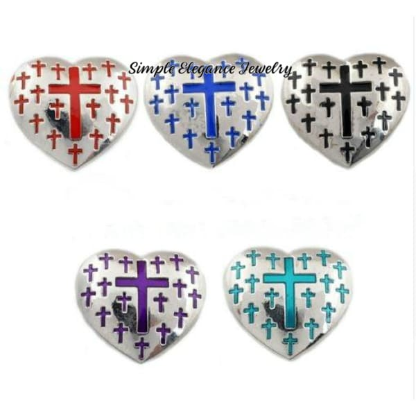 Heart Cross Metal Snap 22mm for Snap Jewelry - Snap Jewelry