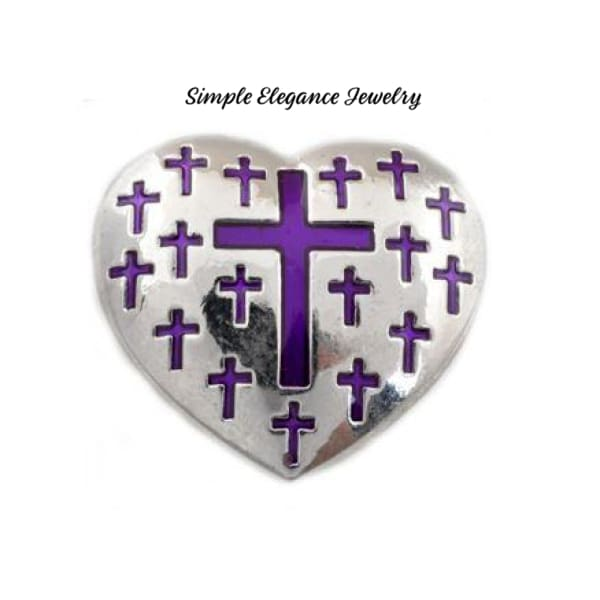 Heart Cross Metal Snap 22mm for Snap Jewelry - Purple - Snap Jewelry